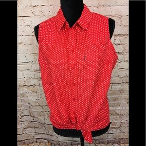 LEVI'S Button Down Blouse Sleeveless Red ♥️ Hearts